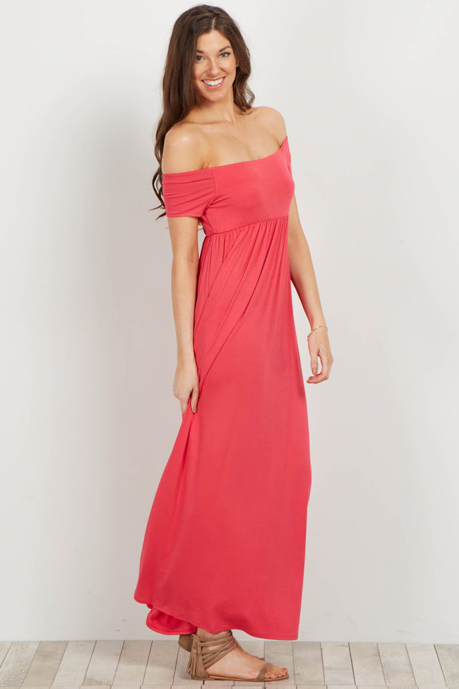 Coral Basic Off Shoulder Maxi Dress
