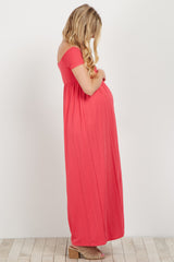Coral Basic Off Shoulder Maternity Maxi Dress