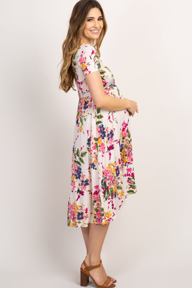 Ivory Floral Hi-Low Maternity Wrap Dress