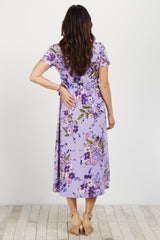 Purple Floral Hi-Low Maternity Wrap Dress