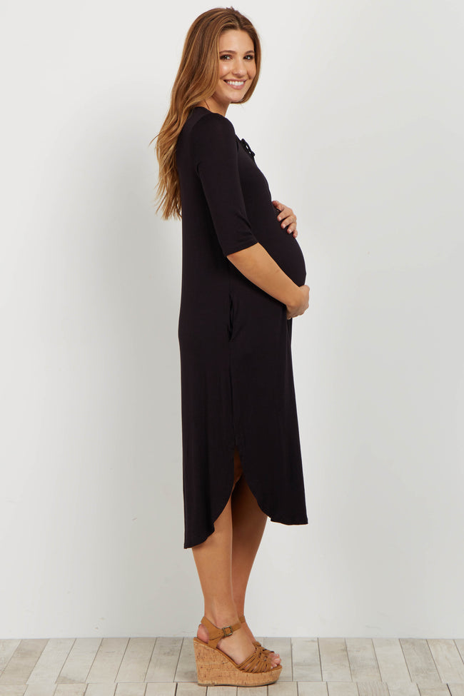 Black Lace Up Maternity Midi Dress
