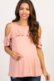 Pink Ruffle Accent Cold Shoulder Maternity Top