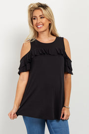 Black Ruffle Accent Cold Shoulder Maternity Top