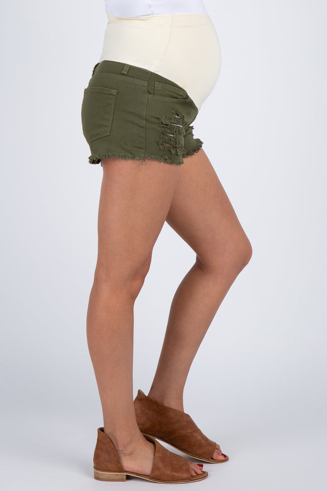 PinkBlush Olive Distressed Maternity Jean Short