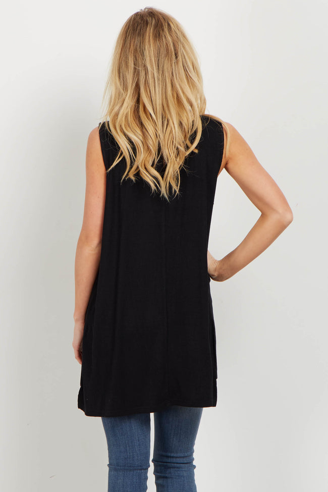 Black Choker Neck Sleeveless Top