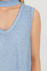 Blue Choker Neck Sleeveless Top