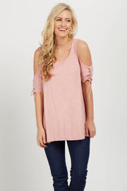 Pink Lace Up Sleeve Cold Shoulder Top