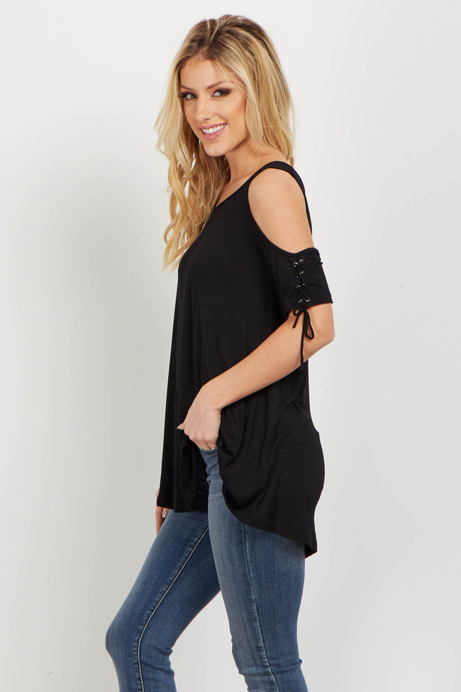 Black Lace Up Sleeve Cold Shoulder Top