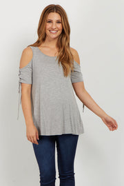 Grey Lace Up Sleeve Cold Shoulder Maternity Top