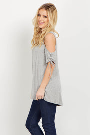 Grey Lace Up Sleeve Cold Shoulder Top