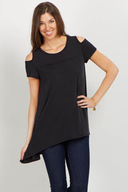 Black Cold Shoulder Hi-Low Tunic