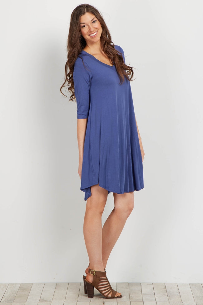 Navy Basic V Neck Maternity Dress