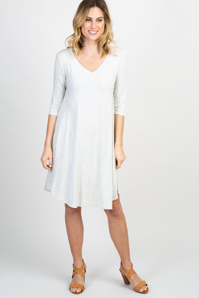 Beige Basic V-Neck Maternity Dress
