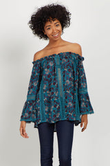 Teal Floral Crochet Off Shoulder Maternity Top