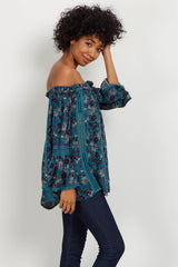 Teal Floral Crochet Off Shoulder Top