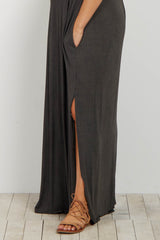 Charcoal V Neck Cuffed Sleeve Maternity Maxi Dress