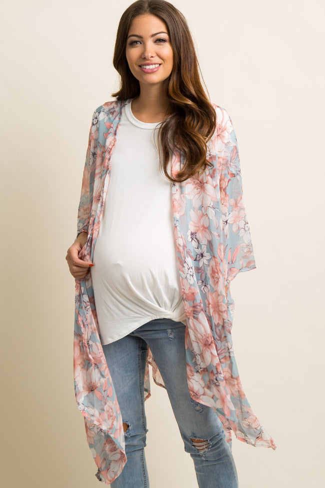 Light Blue Floral Chiffon Oversized Maternity Cover Up