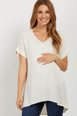 Ivory V Neck Crepe Maternity Top