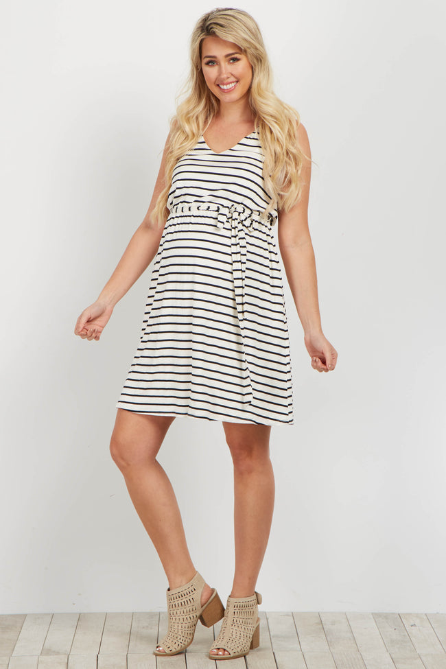 White Striped Sleeveless Sash Tie Maternity Dress