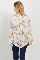 Cream Floral Lace Up Neckline Surplice Front Blouse