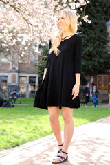 Black Crisscross Front Shift Dress