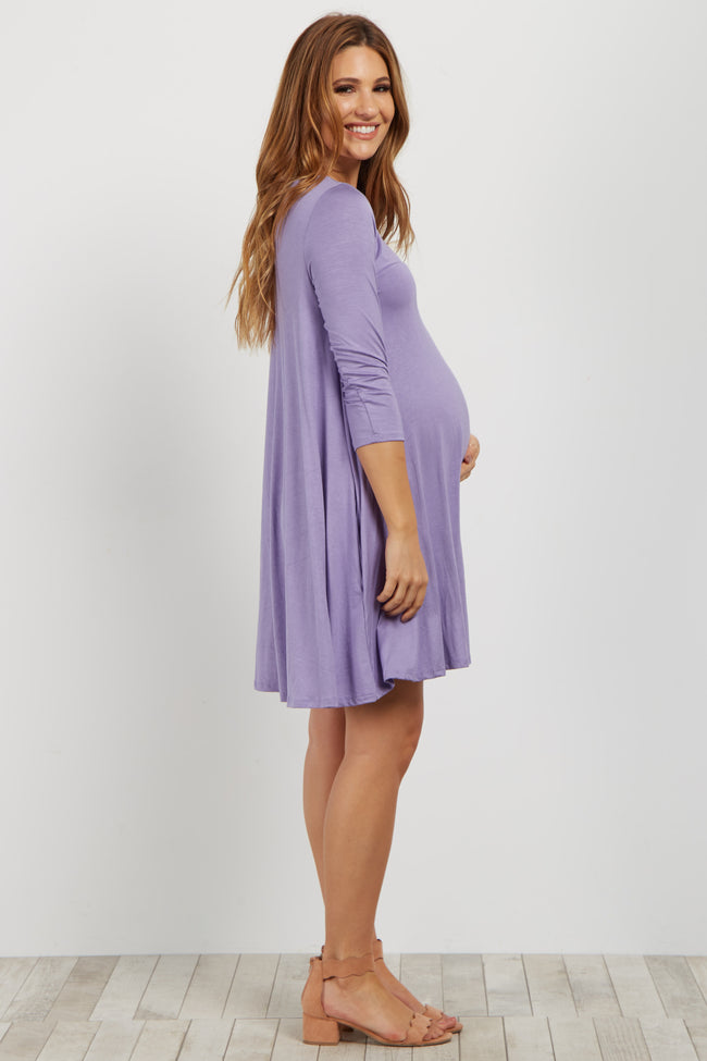 Lavender Crisscross Front Maternity Shift Dress