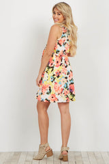Ivory Neon Floral Sleeveless Sash Tie Maternity Dress