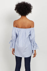Blue Striped Off Shoulder Tie Sleeve Top