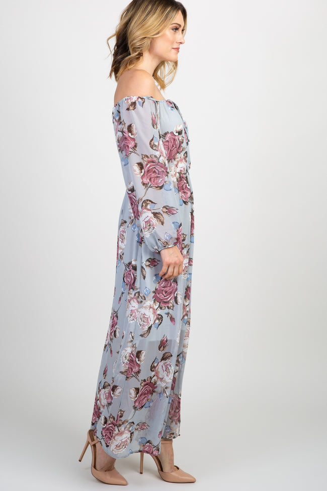 Grey Floral Off Shoulder Maxi Dress