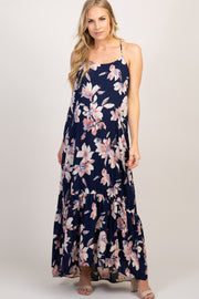 Navy Floral Ruffle Trim Maternity Maxi Dress