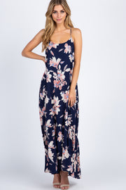 Navy Floral Ruffle Trim Maxi Dress