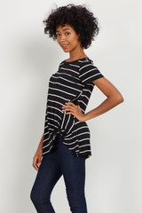 Black Striped Knot Tie Top