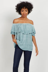 Green Faded Off Shoulder Blouse