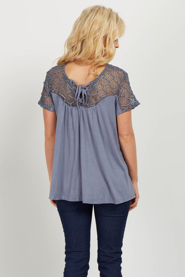 Blue Lace Up Open Knit Accent Top