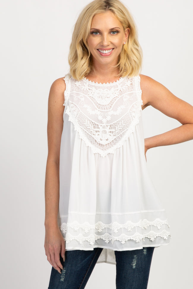 Ivory Crochet Neck Chiffon Maternity Blouse