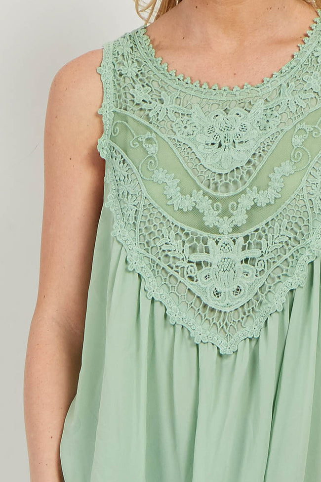 Green Crochet Neck Chiffon Blouse