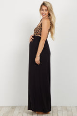 Black Cheetah Print Colorblock Maternity Maxi Dress
