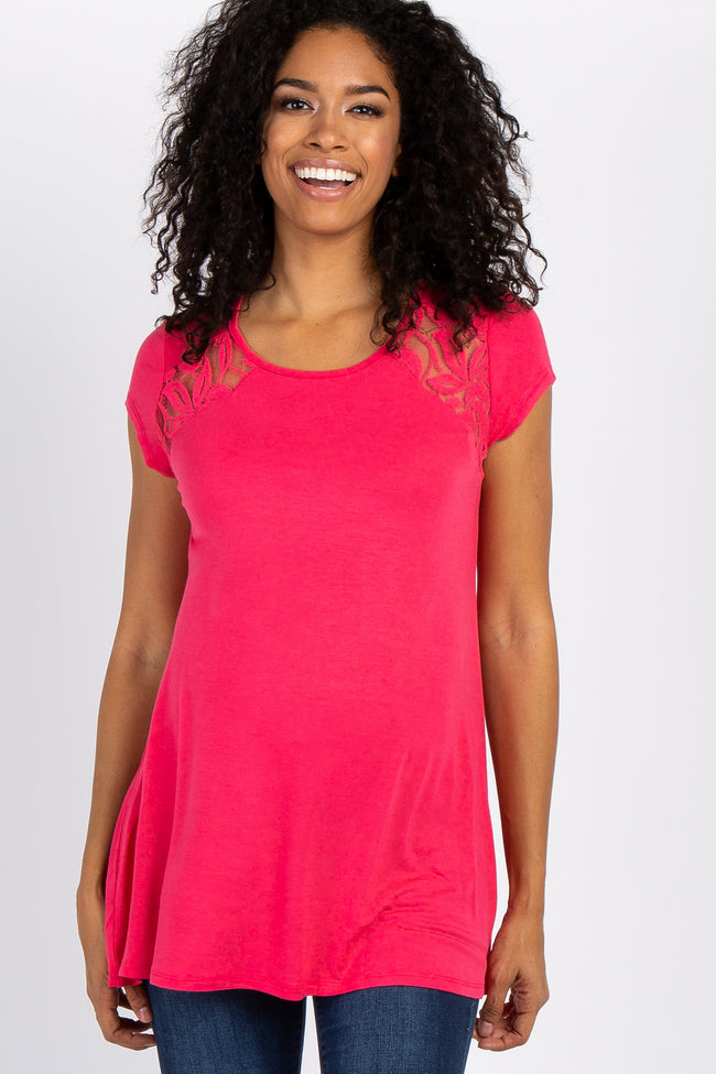 Coral Solid Lace Accent Maternity Top