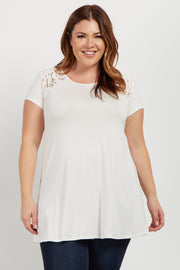 Ivory Solid Lace Accent Plus Top