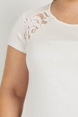 Ivory Solid Lace Accent Plus Maternity Top