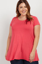 Coral Solid Lace Accent Plus Top