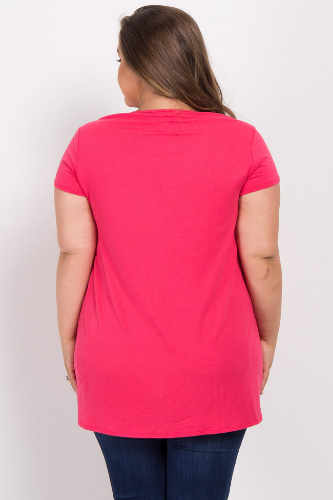 Coral Solid Lace Accent Plus Maternity Top
