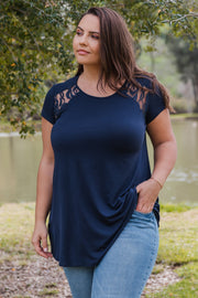 Navy Solid Lace Accent Plus Top