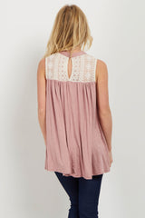 Pink High Neck Crochet Top