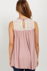 Pink High Neck Crochet Maternity Top