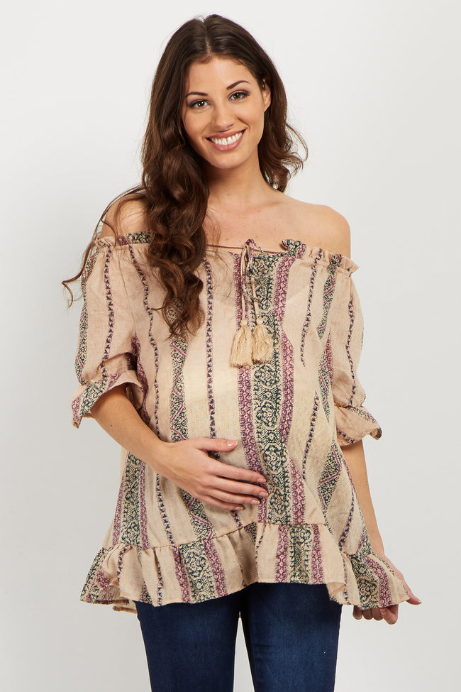 Beige Multi-Print Off Shoulder Top