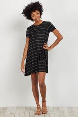 Black Pinstripe Basic Dress