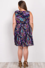 Navy Floral Pleated Sash Tie Plus Maternity Dress