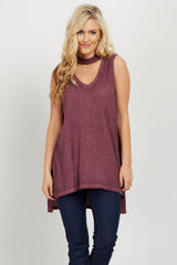 Burgundy Choker Neck Sleeveless Maternity Top