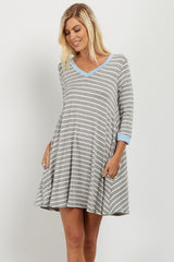 Blue Striped Colorblock Dress